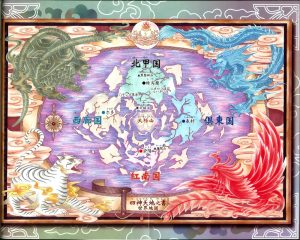 This world map of the Universe of the Four Gods would suit an RPG perfectly.